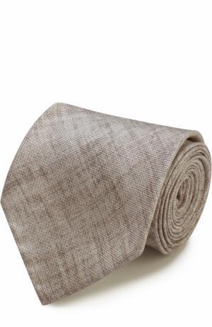 Шелковый галстук Brioni. Цвет: бежевый