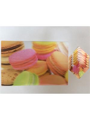 Набор плейсматов 3D,28x42см-6шт, 10x10см-6шт Dream time. Цвет: розовый, желтый, зеленый