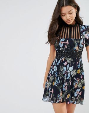 Foxiedox Платье мини с высоким воротом и цветочным принтом Juniper. Цвет: мульти