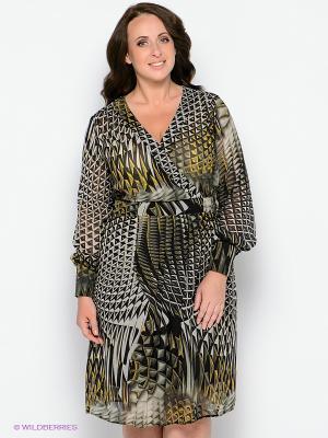 Платье Forus. Цвет: серо-зеленый, черный