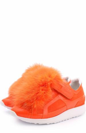 Комбинированные кроссовки с меховым помпоном Pierre Hardy. Цвет: оранжевый