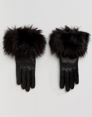 Ted Baker Перчатки с искусственным мехом. Цвет: черный