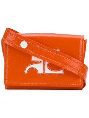 Поясная сумка с логотипом Courrèges. Цвет: жёлтый и оранжевый