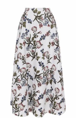 Хлопковая юбка-миди с принтом Erdem. Цвет: разноцветный