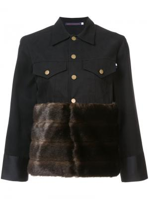 Куртка на пуговицах с меховой панелью Harvey Faircloth. Цвет: чёрный