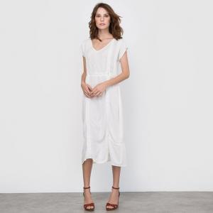 Платье с вышивкой и кружевом R édition. Цвет: слоновая кость