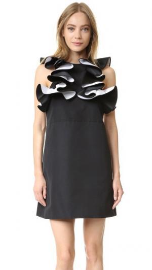 Двухслойное платье с оборками Victoria Beckham. Цвет: черный/оптический белый