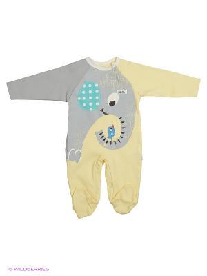 Комбинезон для малышей WO&GO. Цвет: желтый, серый меланж