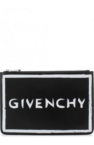 Кошелек на молнии с принтом Givenchy. Цвет: черный