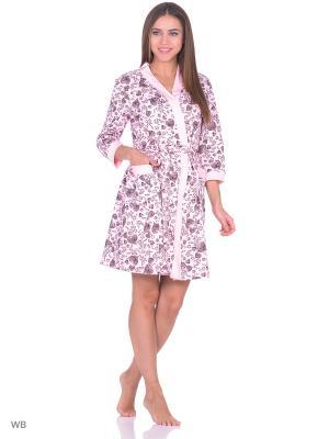 Комплект домашней одежды ( халат, ночная сорочка) HomeLike. Цвет: розовый, черный