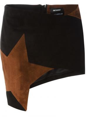 Мини-юбка с заплаткой в форме звезды Anthony Vaccarello. Цвет: чёрный