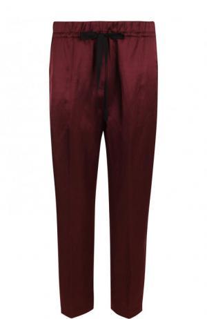 Укороченные брюки из смеси вискозы и льна Forte_forte. Цвет: бордовый