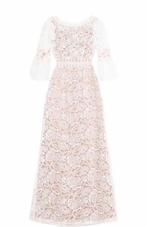 Приталенное кружевное платье-макси Tadashi Shoji. Цвет: светло-бежевый