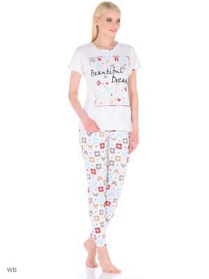 Пижама женская (футболка,брюки) MARSOFINA. Цвет: молочный