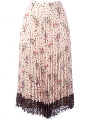 Плиссированная юбка с цветочным узором Red Valentino. Цвет: телесный