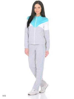 Спортивный костюм FORLIFE. Цвет: серый, белый, бирюзовый