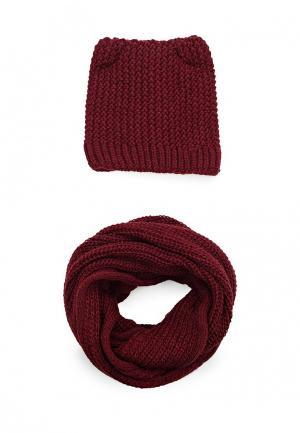 Комплект шапка и снуд Fete. Цвет: бордовый
