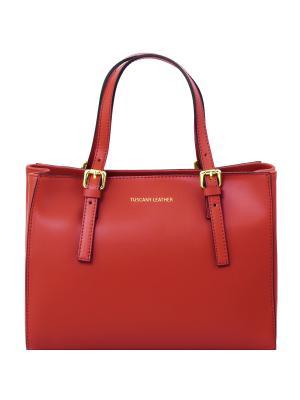 Aura - Женская кожаная сумка на молнии Tuscany Leather. Цвет: красный