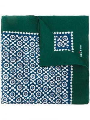 Карманный платок с геометрическим принтгом Kiton. Цвет: синий