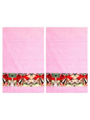 Полотенца махровые, набор 2 шт, 30х ко см, принт Колокольчики Dorothy's Нome. Цвет: розовый