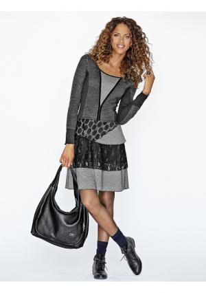 Платье Linea Tesini. Цвет: серо-коричневый, черный