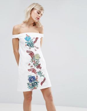 House of Holland Хлопковое платье с вышивкой. Цвет: белый