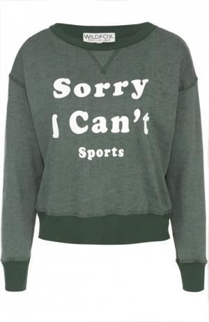 Укороченный пуловер с контрастной надписью Wildfox. Цвет: зеленый