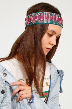 Блестящая повязка на голову Gucci. Цвет: multicolor