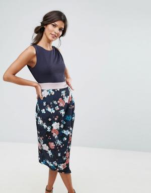 Closet London Платье с драпированной юбкой и принтом. Цвет: мульти