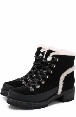 Комбинированные ботинки с отделкой из овчины Tory Burch. Цвет: черный