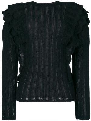 Ажурный вязаный свитер Dolipa с оборками Iro. Цвет: чёрный