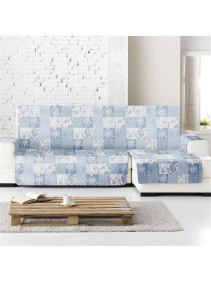 Накидка на угловой диван Йорк печворк, правый угол Медежда. Цвет: серо-голубой