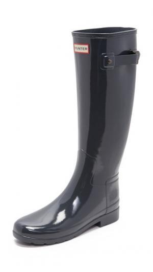 Оригинальные глянцевые сапоги Refined Hunter Boots. Цвет: темный синевато-серый