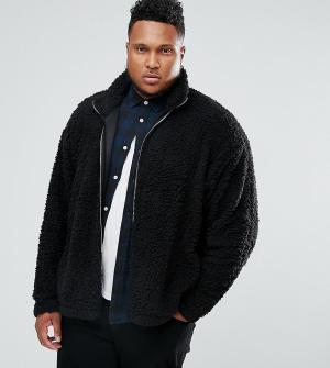 ASOS Спортивная оверсайз-куртка из искусственного меха PLUS. Цвет: черный