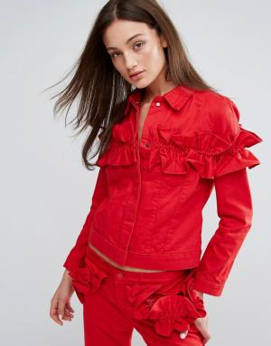 J Brand Джинсовая куртка с оборкой x Simone Rocha. Цвет: красный