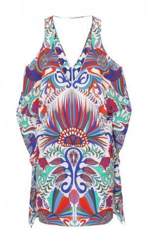 Шелковое мини-платье асимметричного кроя с контрастным принтом Lazul. Цвет: разноцветный