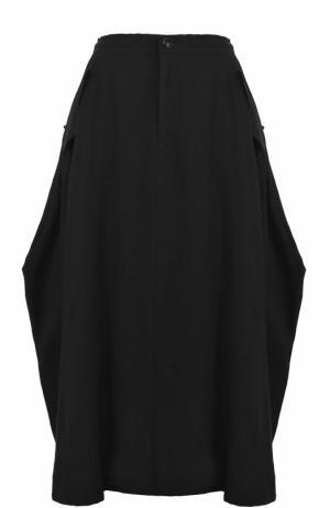 Шерстяная юбка-миди с карманами Yohji Yamamoto. Цвет: черный