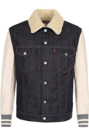 Утепленная джинсовая куртка на пуговицах с кожаными рукавами Junya Watanabe. Цвет: синий