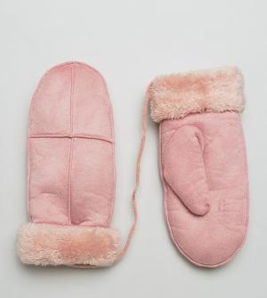 Willow and Paige Розовые варежки из искусственной овечьей шерсти. Цвет: розовый