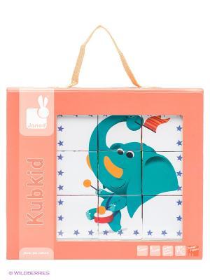 Кубики Цирковые животные Janod. Цвет: светло-коралловый