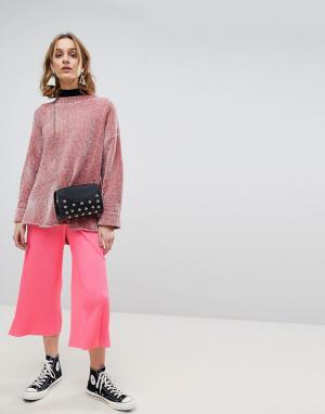 ASOS Ярко-розовая плиссированная юбка-брюки. Цвет: розовый