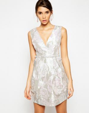 ASOS Жаккардовое платье-тюльпан с бандажной спинкой. Цвет: мульти