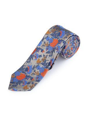 Галстук Jardin Lumineux Raffia Duchamp. Цвет: темно-синий, коралловый, лазурный, оранжевый, серо-голубой, серый меланж