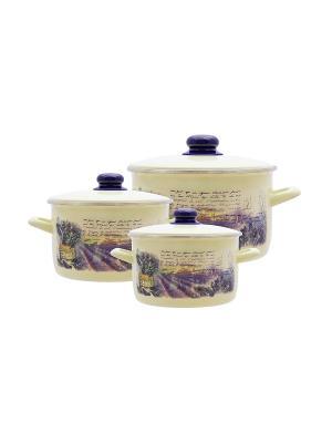 Набор посуды 6 предметов (2л, 3л, 5л), мет.крышки METROT. Цвет: бежевый