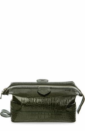 Кожаный несессер на молнии Truefitt&Hill. Цвет: темно-зеленый