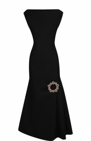 Приталенное шерстяное платье-миди Jacquemus. Цвет: черный