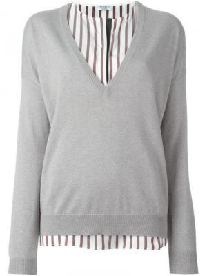 Блузка c V-образным вырезом Brunello Cucinelli. Цвет: серый