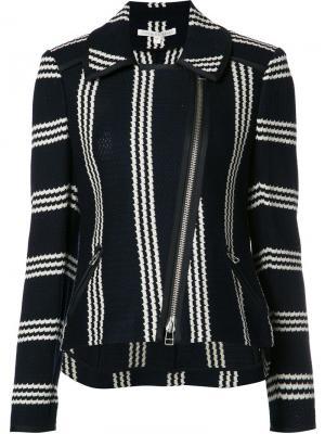 Байкерская куртка в полоску Veronica Beard. Цвет: чёрный