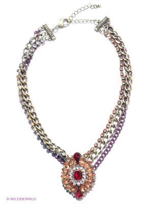Колье Milana Style. Цвет: светло-коралловый, прозрачный, красный, бронзовый