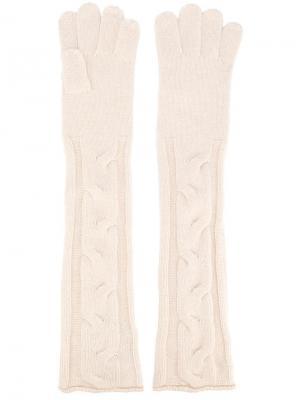 Удлиненные вязаные перчатки Loro Piana. Цвет: белый